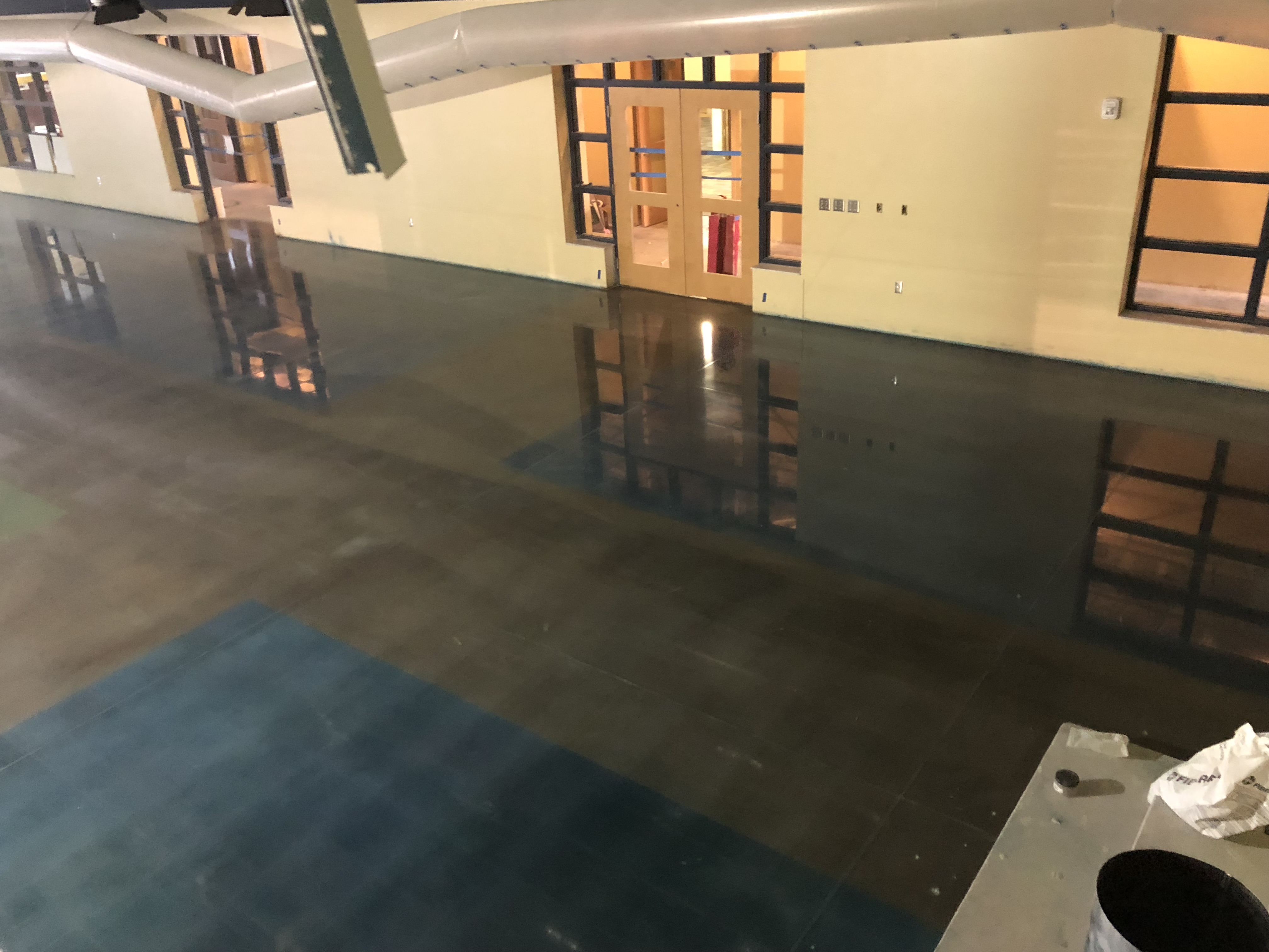 A betuifully polished concrete floor showing a decorative brown and blue pattern.